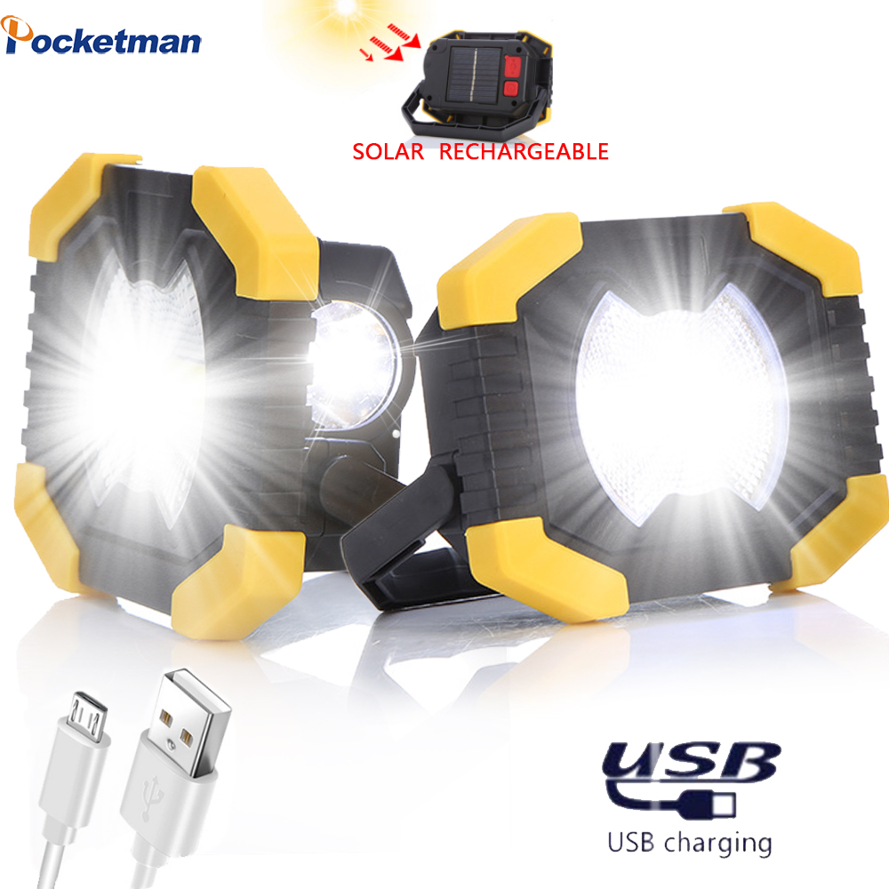 Bright Portable Spotlight Work Light USB Rechargeable Flashlight Solar energy Light Built-in 2400mAh Battery For Hunting Camping