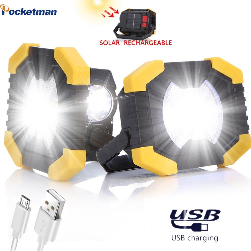 Projetor portátil brilhante luz de trabalho usb recarregável lanterna luz de energia solar built-in 2400 mah bateria para a caça acampamento