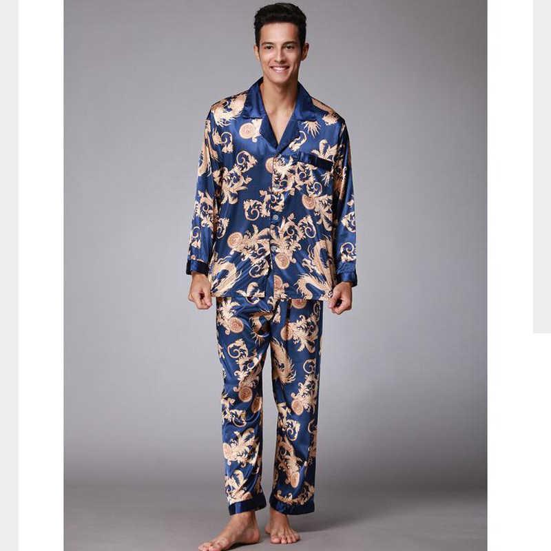 fbee1bbd7cadd ... Для мужчин Twinset пижамы наборы атласные шелковые отложной воротник  Пижама костюмы Повседневное пижамы Домашняя одежда рубашка ...