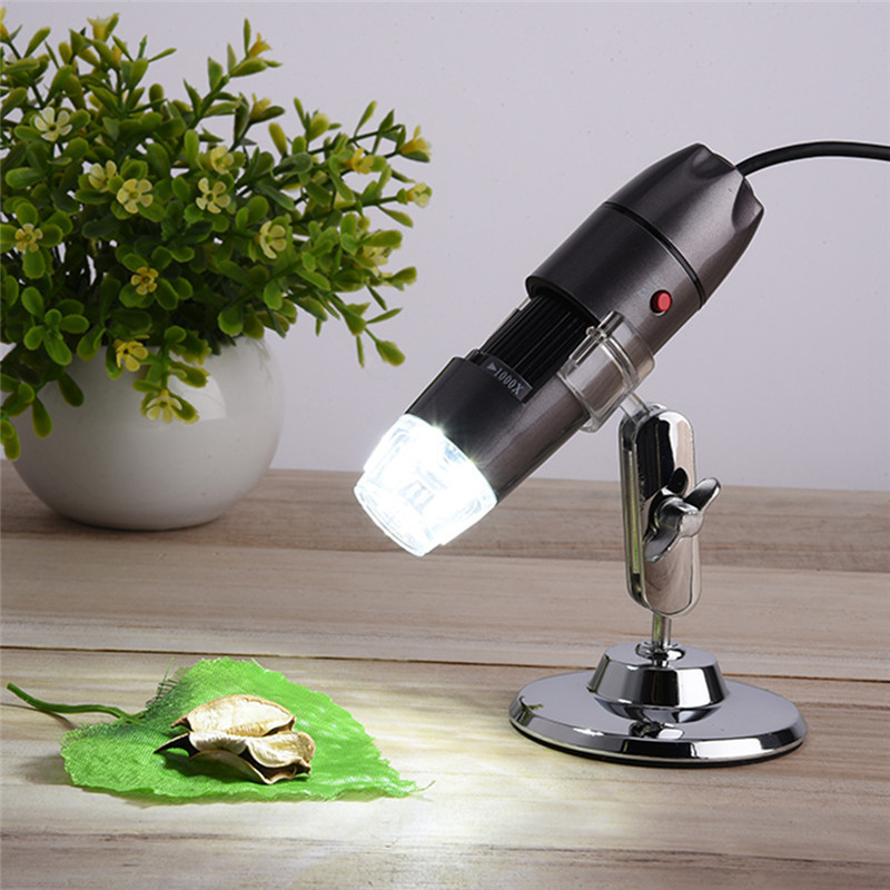 1PCS Adjustable Stand 8 LED 1000X USB Digital Microscope 0 ~ 30000LUX Endoscope Camera Microscopio Magnifier Grey