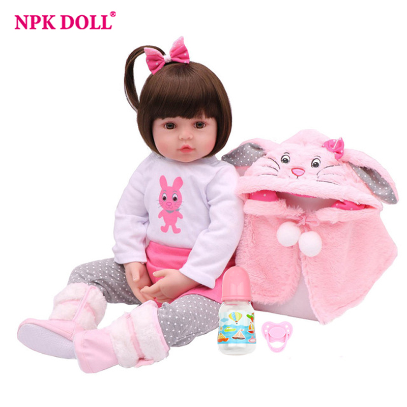 NPK DOLL Reborn Baby Lifelike 17 inch Girl Pink Princess Winter Coat Christmas Gift Plush Toys