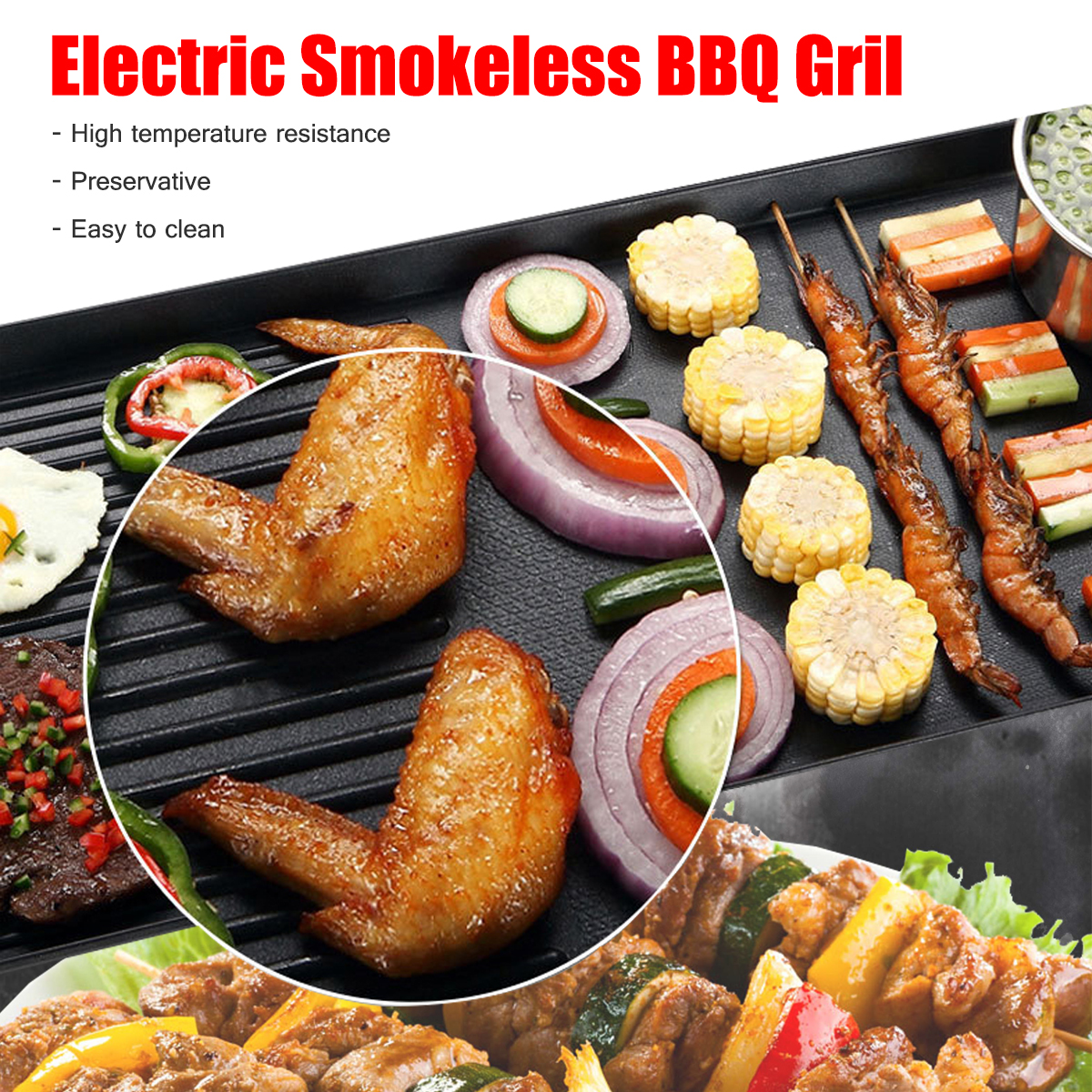 220V Kitchen Electric BBQ Grill Teppanyaki Non stick Surface Hot Plate 1500W Adjustable Temperature Incredibly Versatile