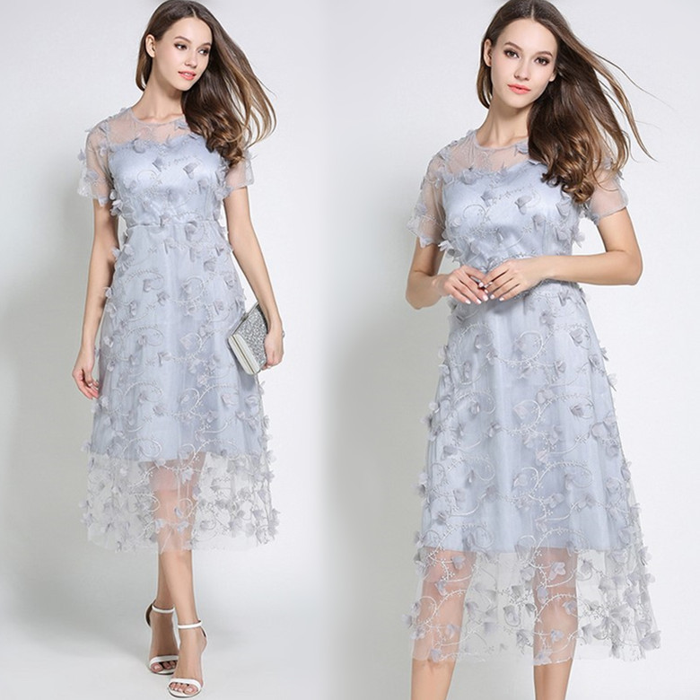 Casual Nouvelles Robes Parti Courtes Manches Robe Patchwork Floral Vintage Casula Haute Qualité Plage Lady 68776 Femmes 5aggIq