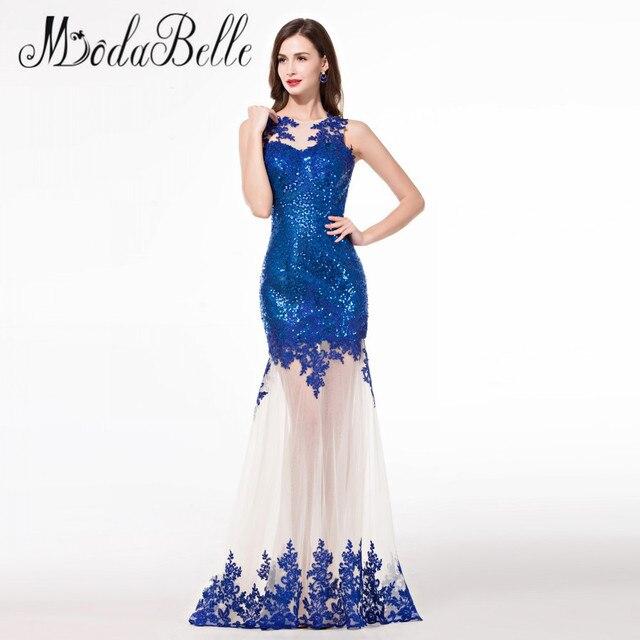 3f8bdddfa Baratos Fotos Reales de Encaje Transparente Azul Real Vestido de Noche  Largo Elegante 2016 Sparkly Lentejuelas