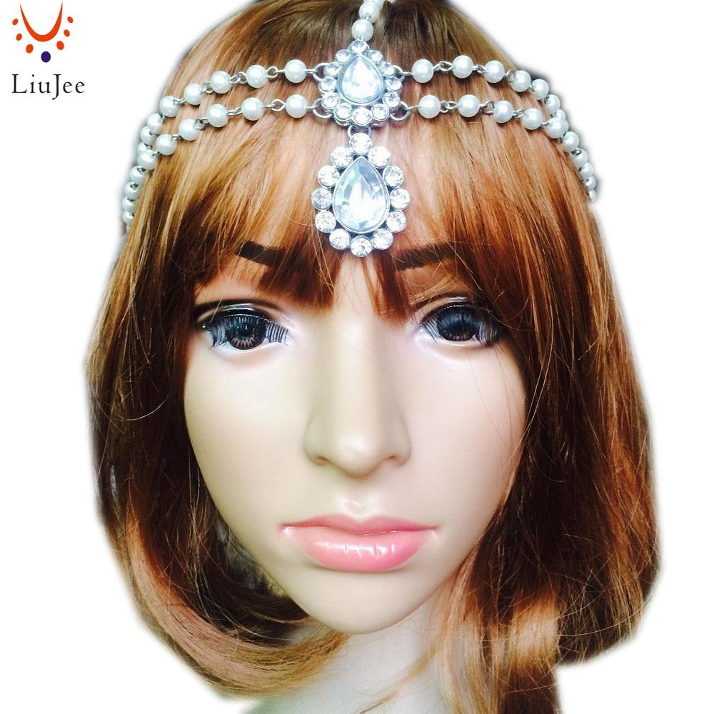 LiuJee KD088 Hair Decoration Fashion Indian Boho Gold Head Chain Pearl Crystal Head Dress Headpiece For Women Hair Jewelry