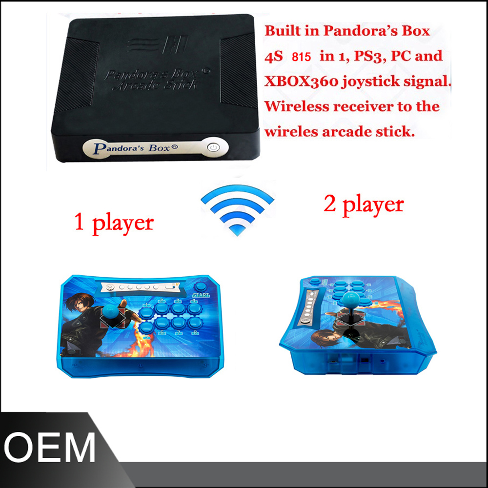 Pandora box 4S+ 815 in 1 wireless arcade controller joystick buttons kit 2 players Pandora's Box joysticks video arcade machine pandora box 4s 2 player arcade console for home 815 in 1 family game consoler with 5 pin 8 way joystick lock button hdmi vga out