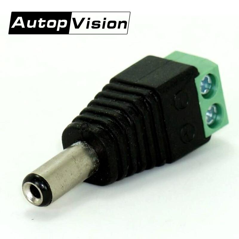 10Pcs/lot Professional CCTV BNC Accessories 2.1 X 5.5mm DC Power Male Plug Jack Adapter Connector Plug For CCTV LED Strip Light