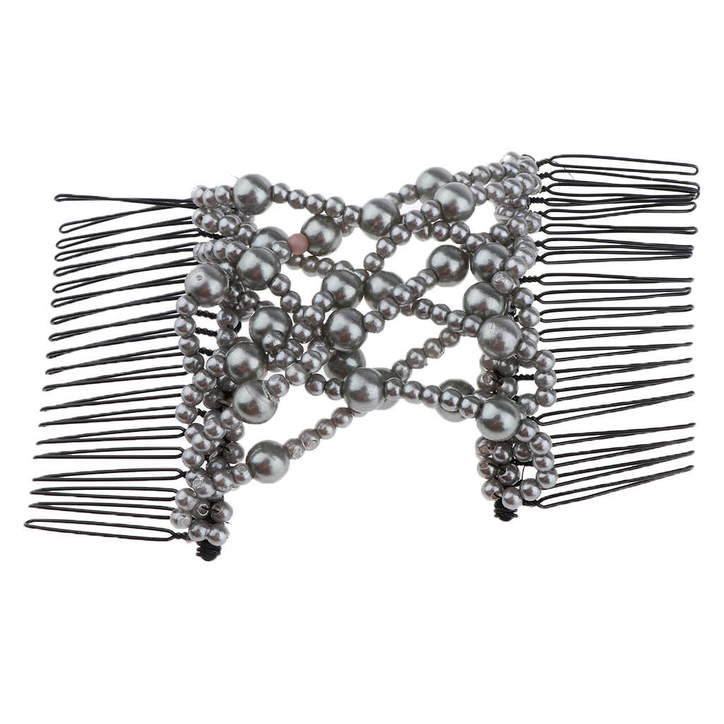Easy Magic Double Hair Combs Women Stretchy Girls Gray Pearls Hair Clips Accessories