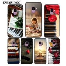 For Samsung Galaxy Note 9 8 S10 S9 S8 Plus Lite S7 S6 Edge S5 Mini Black Silicone Phone Case Guitar Piano Music Scenery  Style