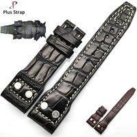 Плюс ремешок черный и коричневый реального крокодиловой кожи ремешок для часы аксессуары Для мужчин ремешок Для женщин браслет без пряжки