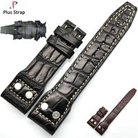 Black & Brown Real Crocodile skin Watchband for IWC Accessories Men Watch Strap Women Wristband no Buckle