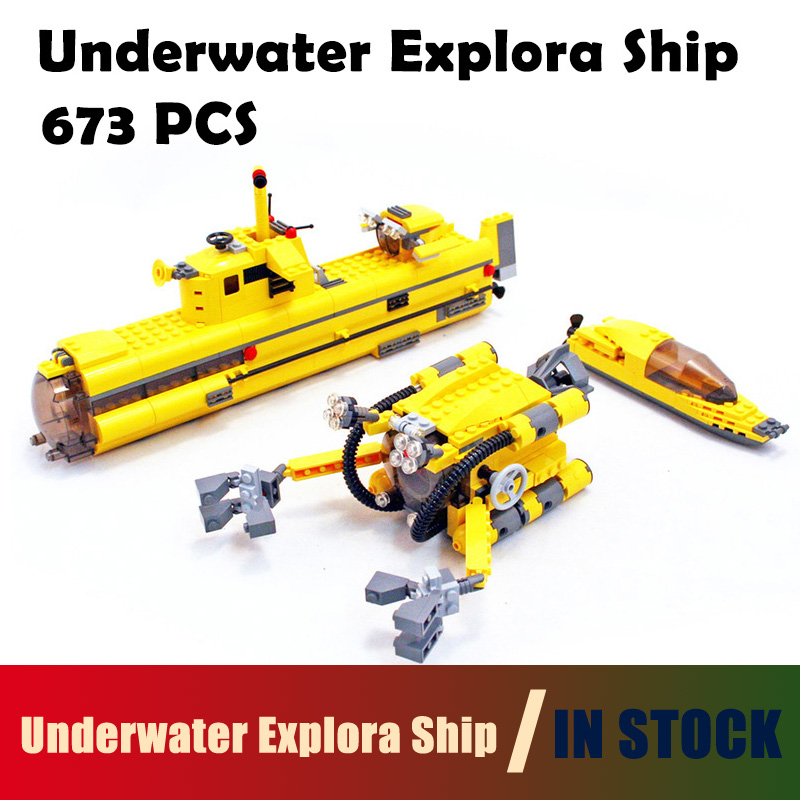 Compatible with Lego Technic 24012 673pcs Creative Underwater Explora Ship Model building blocks 4888 Bricks toys for children compatible with lego technic creative lepin 24011 1344pcs 3 in 1 highway transport building blocks 6753 bricks toys for children