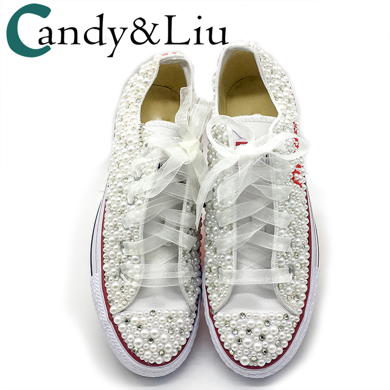 Women Vulcanized Shoes White Pearls Flats Personalized Custom Letters Name Christmas Gift Rhinestone Beads Sneakers Casual