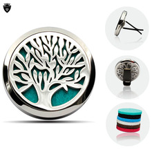 Fashion Tree of Life 38MM Magnetic Essential Oil Diffuser Locket Car Hollow Diffuser Locket Round Car Locket With Free Shipping