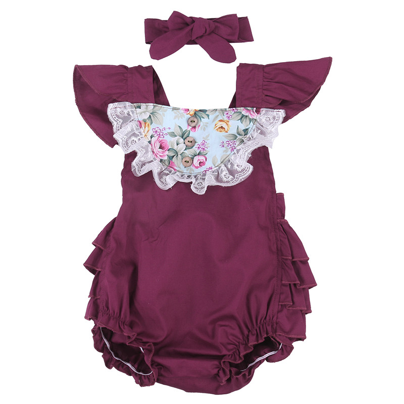 NEW Arrivals Baby Girl Floral Ruffle Clothes Sunsuit Romper Tutu Bow Backless Romper suit with Headband 6-12 Months Purple Yelow