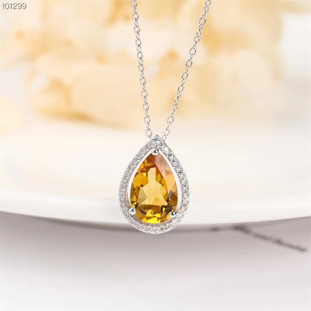 gem jewelery factory fashionable simple-designed 925 sterling silver natural citrine necklace pendant ring jewelry set women