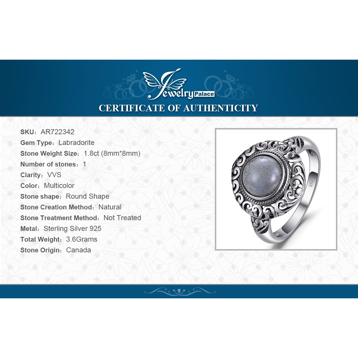 JewelPalace 2ct Vintage Genuine Labradorite Ring 925 Sterling Silver Rings for Women Silver 925 Jewelry Gemstones Fine Jewelry in Rings from Jewelry Accessories