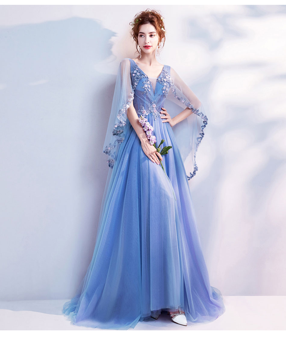9187b4e667 US $95.0 |SSYFashion New Lace Flower Evening Dress Bride Banquet Sweet Blue  Appliques V neck Cape Sleeves Floor length Formal Party Gown-in Evening ...