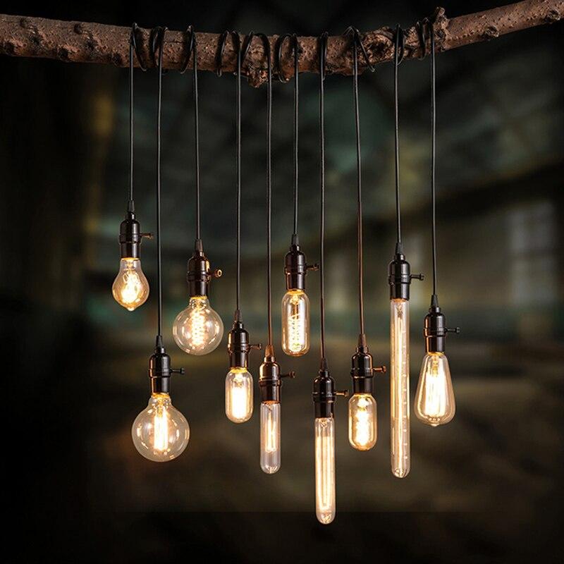 49% скидка 110 В 220 В Ретро Эдисон лампа держатель E27 E26 разъем античная латунь Основание светильника шнур сцепление с резьбой патрон для подвес...