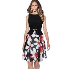 Letní vintage dámské šaty s černým vrškem a květinovou sukní