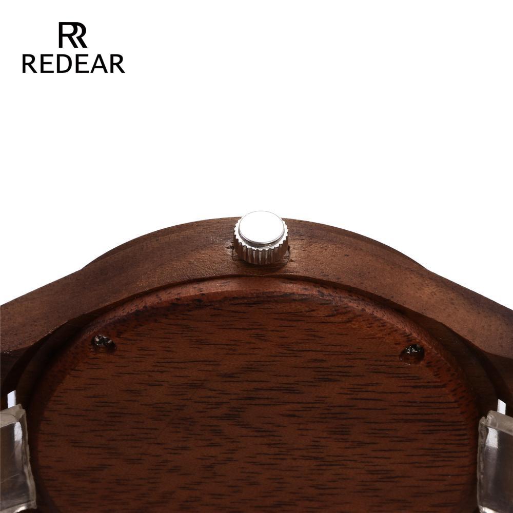 REDEAR Mens Design Brand Luxury Walnut Wooden Watches Real Leather - Damklockor - Foto 5