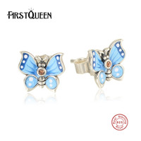 FirstQueen 925 Sterling Silver Enamel Butterfly Stud Earrings Clear CZ Compatible With Jewelry Special Store