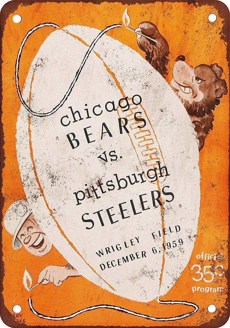 Vintage Home Decor Chicago Bears Bar Decor Vintage Metal Sign Wall ...