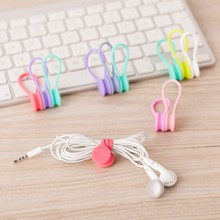 1PCS Silicone Magnet Coil Earphone Cable Winder Headset Type Bobbin Winder Hubs Cord Holder Cable Wire Organizer for xiaomi(China)