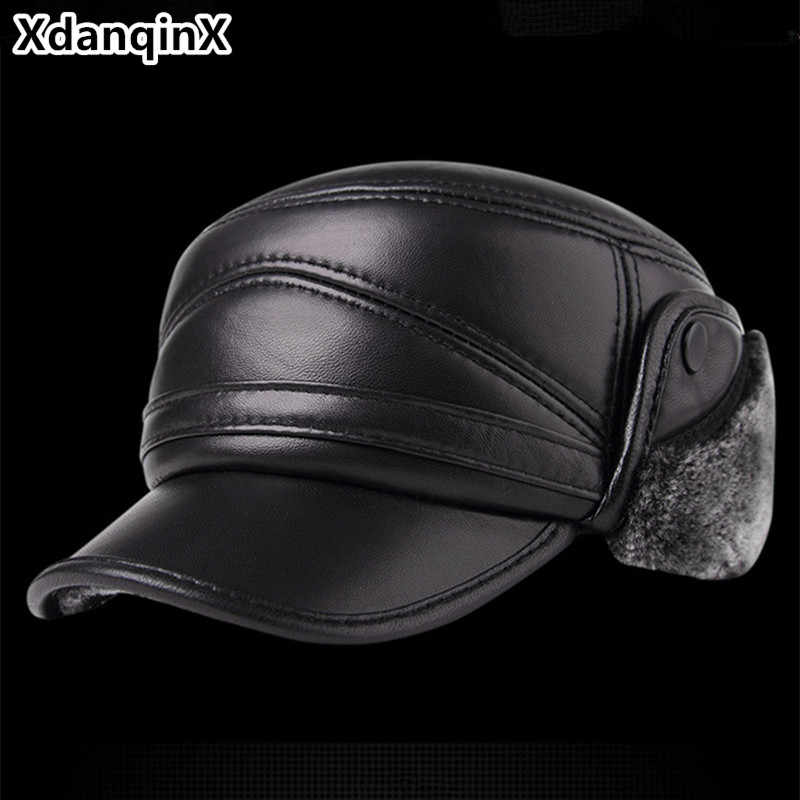 f2f00ded98b XdanqinX Genuine Leather Hat Winter Men s Thick Warm Baseball Cap With  Earmuffs Sheepskin Plus Velvet Hats