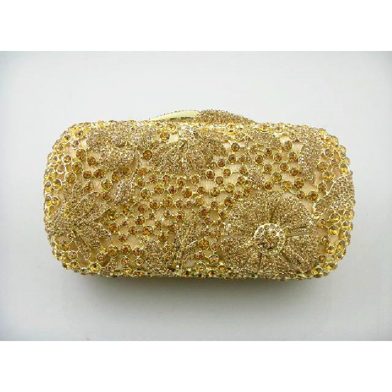 ФОТО 8122 Gold Crystal Floral Flower Wedding Bridal Party Night hollow Metal Evening purse clutch bag case box handbag