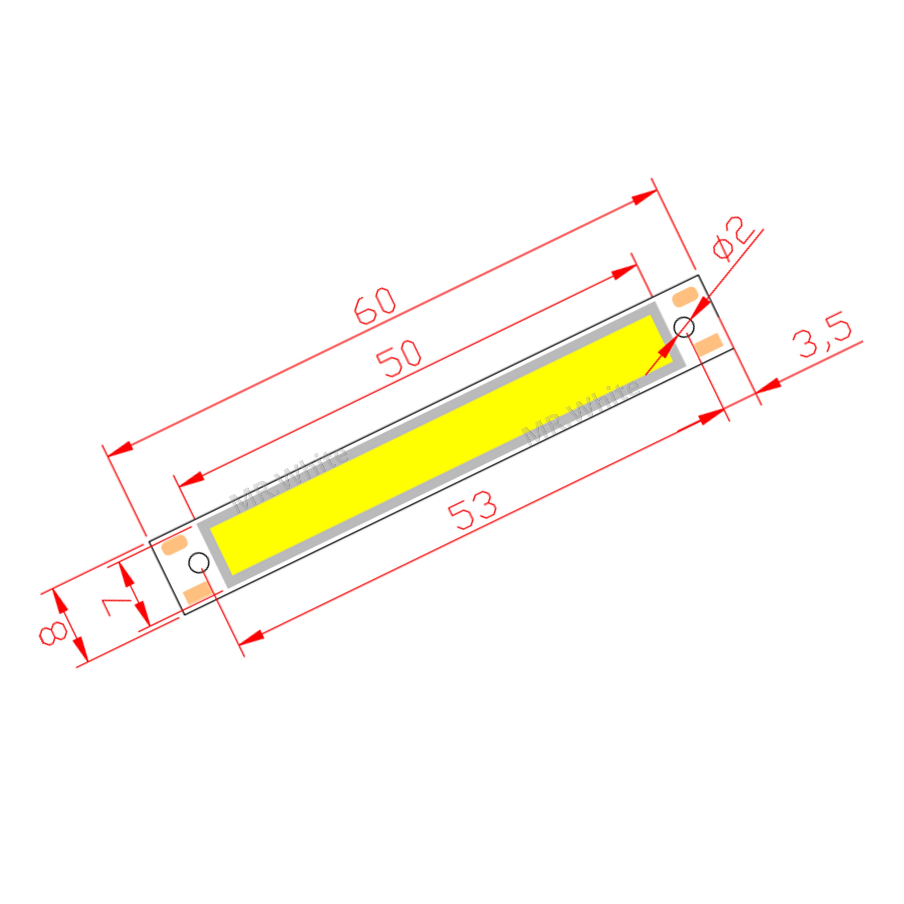 10pcs 3V 3.7V DC 60mm 8mm LED COB Strip 1.5W 300mA 100LM Warm Cold White Blue Red COB LED Light Source Module For DIY Work Lamp
