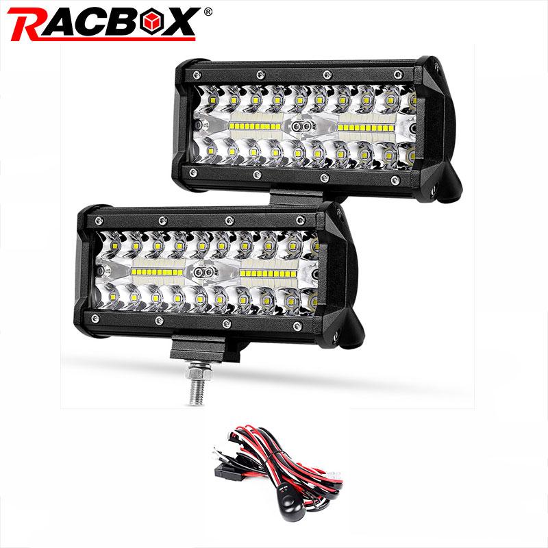 120w 7inch LED Bar LED Light Bar Ice-white Work Beam 12v 24v Fog Headlight Spotlights For Rampe UAZ 4x4 Kamaz Car Offroad ATV