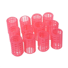 MYPF- 12 Pcs Pink Plastic Makeup DIY Hair Styling Roller Curlers Clips