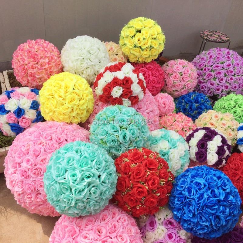 Rose Ball Flower Kissing Ball 10pcs 15cm Diameter 24 Color Designs For Wedding Party Shops Artificial