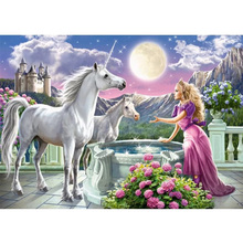 Princess and unicorn diamond Embroidery diy painting mosaic diamant 3d cross stitch pictures H598