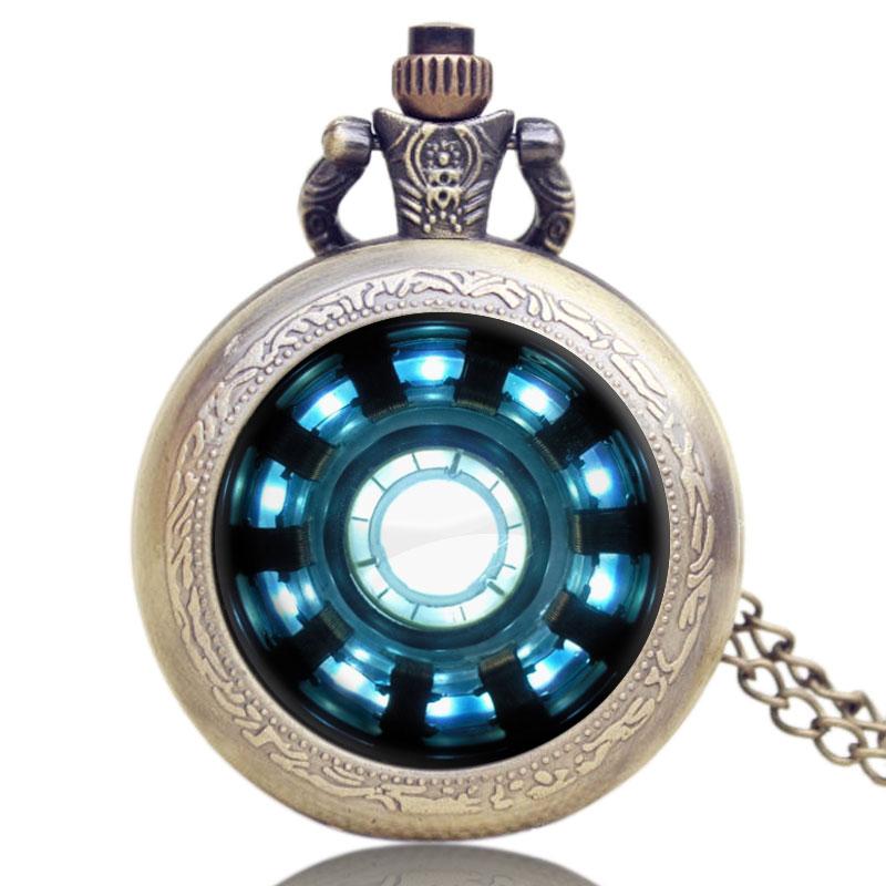 Iron Man Vintage Pocket Watches Arc Reactor Jarvis Relogio De Bolso Bronze Quartz Beautiful Pendant Pocket Watch Necklace Clocks