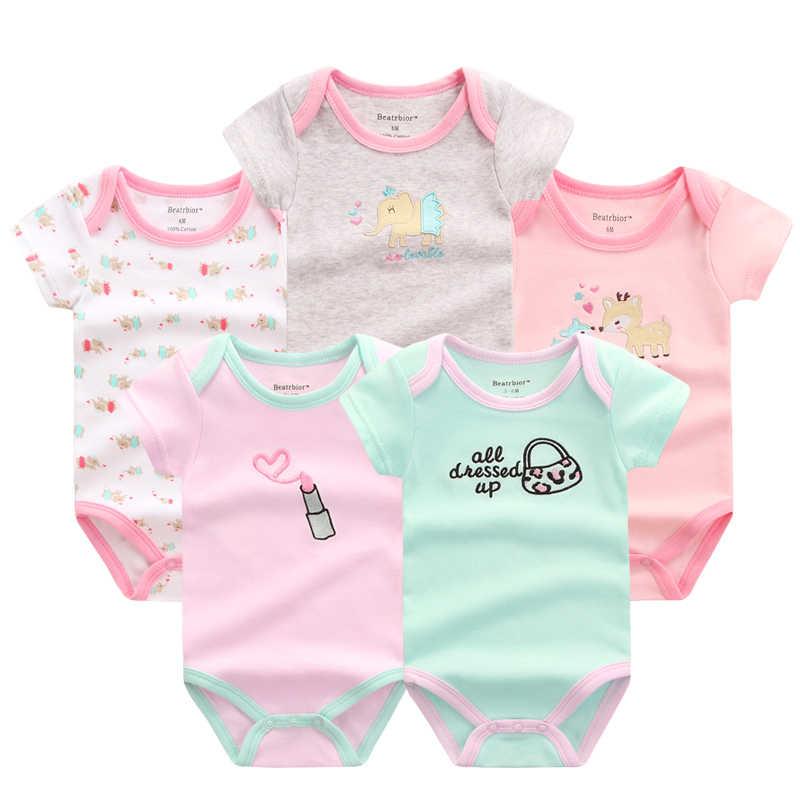 85c1215cec02 5 PCS LOT Baby Rompers Summer Baby Clothing Set Cartoon Romper Infant  Newborn Baby Boy