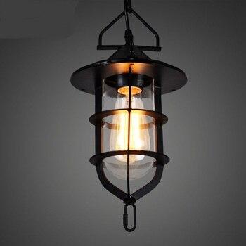 National retro creative balcony glass chandelier industrial iron chandelier Nordic new bar coffee channel