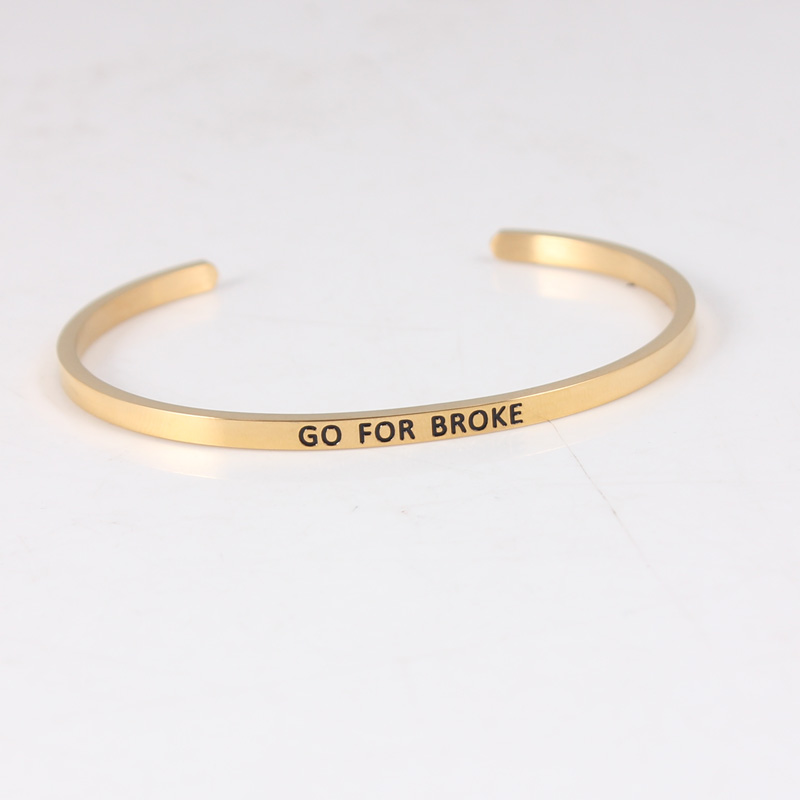 201 Stainless Steel Open Cuff Bracelets Bangles Gold GO FOR BROKE Inspirational Mantra Bracelets For Women gold open cuff bracelets for women bijoux jewelry