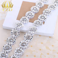 1.5 Yard Hotfix Clear Crystal Sewing on Beaded Rhinestone Appliques Trimming for Wedding Dress Headpieces Garters