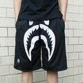 Hot hip hop men boy casual shorts Bape shark outdoor short basketball running trousers aape nets fabric black streetwear