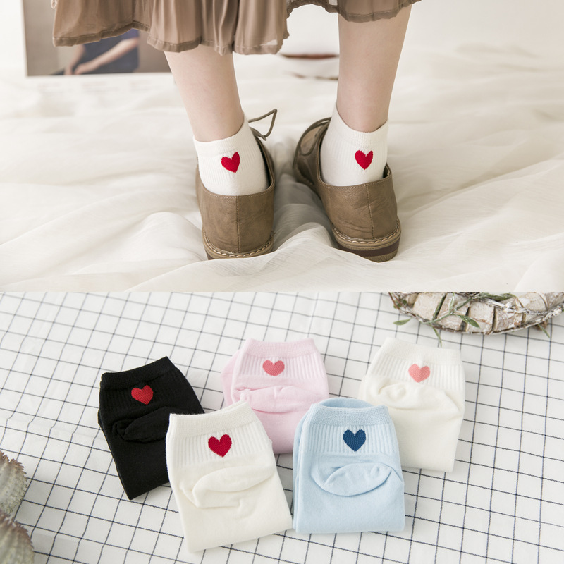 Jeseca Japanese Kawaii Heart Print Women Cotton Soft Short Socks Female Cute Spring Summer Ankle Sock Students College Style Sox
