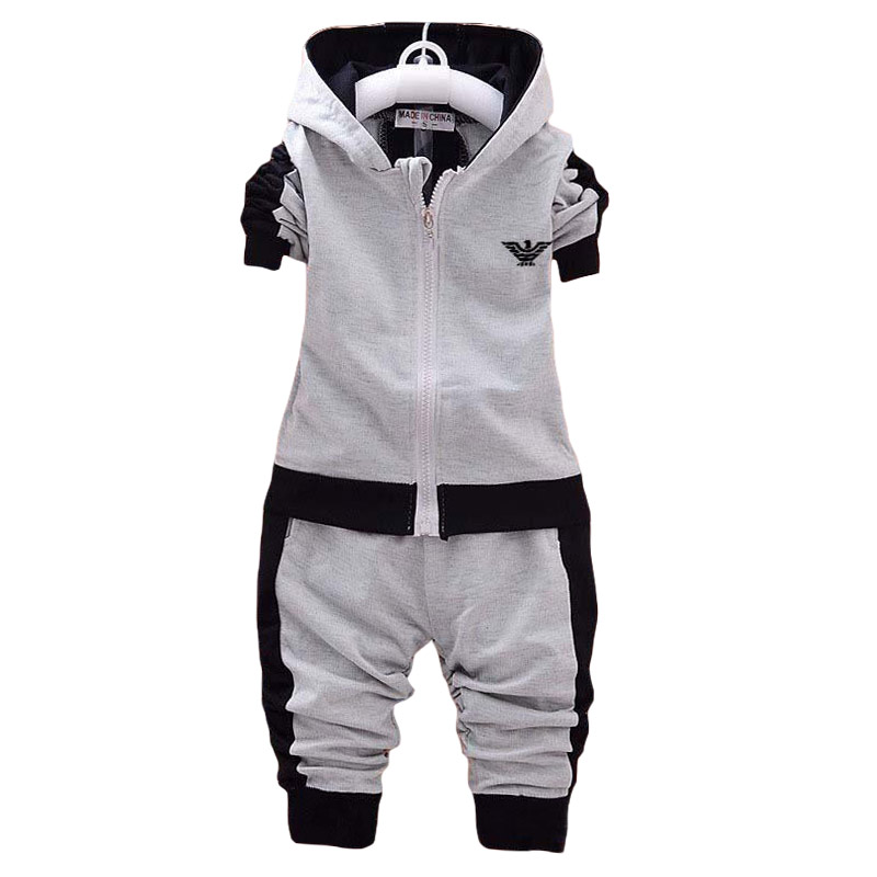 2019 Kids Clothes Korean Fashion Casual Letter Gray Hooded Zipper Shirt Pants Baby Boys 2pcs Sets 1 4 Yrs Autumn Children Suit in Clothing Sets from Mother Kids