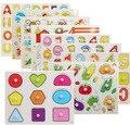 Kid Comprensión Cognitiva placa Rompecabezas 3D Carta Número de Color Forma de Transporte Cartoon Insectos Vegetales Marinos Animales de Juguete