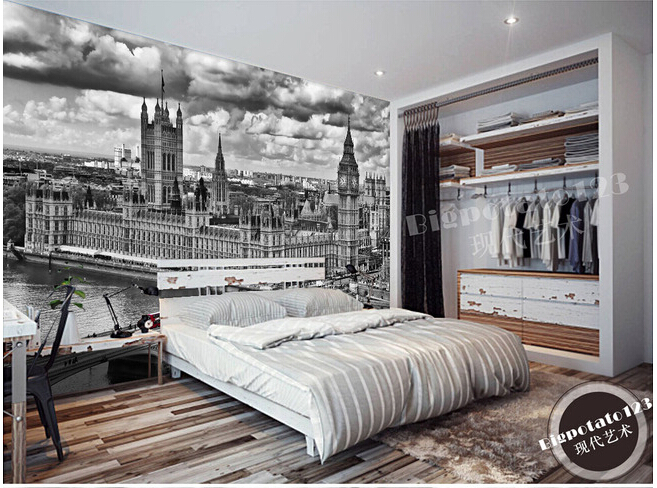 Custom vintage wallpaper, large wall paintings of black and white castle for bedroom TV walk paper de parede vinyl special hard concrete nails wall paintings nail