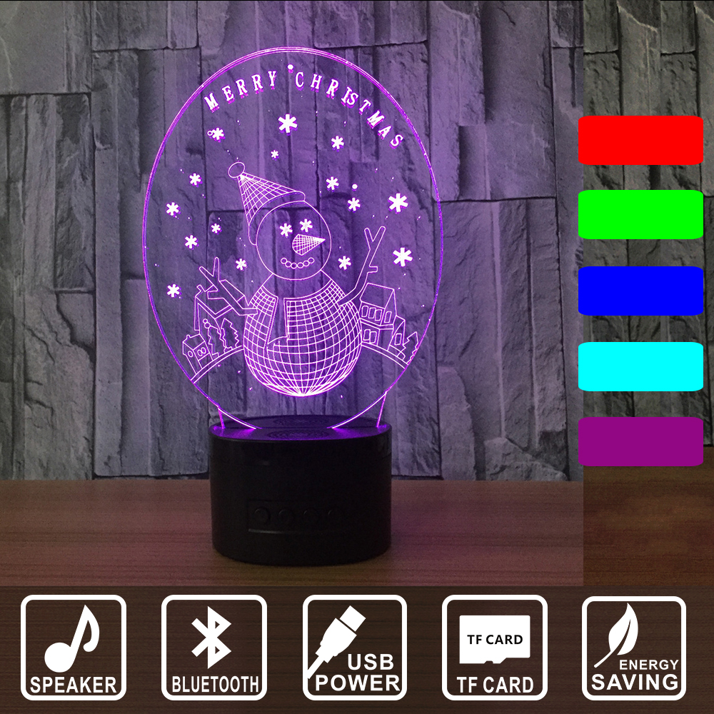 MERRY CHRISTMAS Snow Man 3D Illusion LED Bluetooth music Night Light 7 Colors  Lamp Christmas Party Decoration Gift IY803006B kmashi led flame lamp night light bluetooth wireless speaker touch soft light for iphone android christmas gift mp3 music player