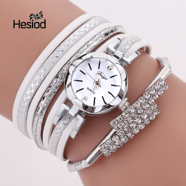 Hesiod Luxury Rhinestone Leather Bracelet Watch Women Ladies Quartz Watch Casual