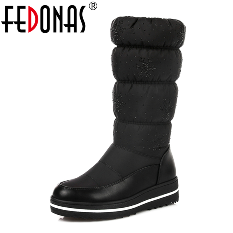 FEDONAS Plus size 35 44 Women Russia Snow Boots Thick Fur Inside Winter Keep Warm Shoes