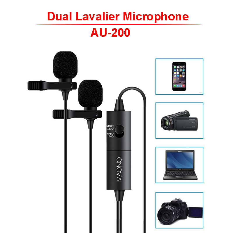 Lavalier Microphone with Tripod Podcast iPhone Smartphone Youtube Video Camera DSLR MAONO AU100 Omnidirectional Condenser Hands Free Clip-on Lapel Mic with Stand for Recording