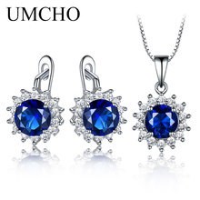 UMCHO Created Sapphire Stud Earrings Necklace Real 925 Sterling Silver Jewelry Sets For Women Elegant Classic Gift Fine
